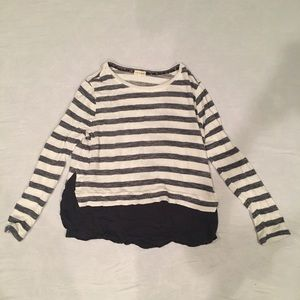 Very soft white and navy striped light sweater